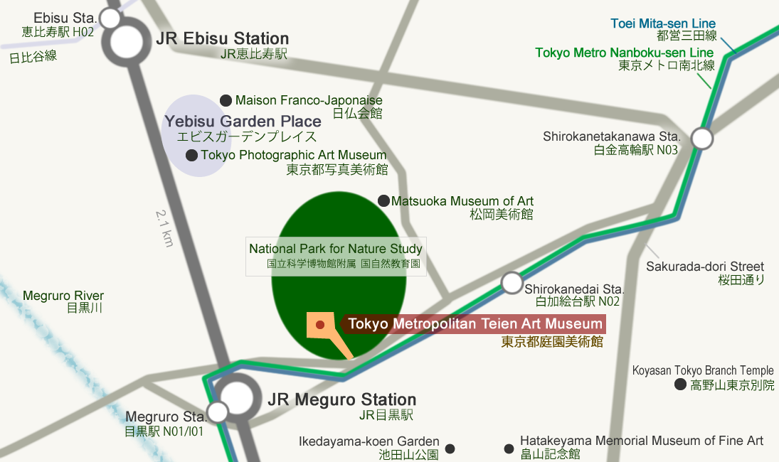 Map of Shirokane and Meguro area